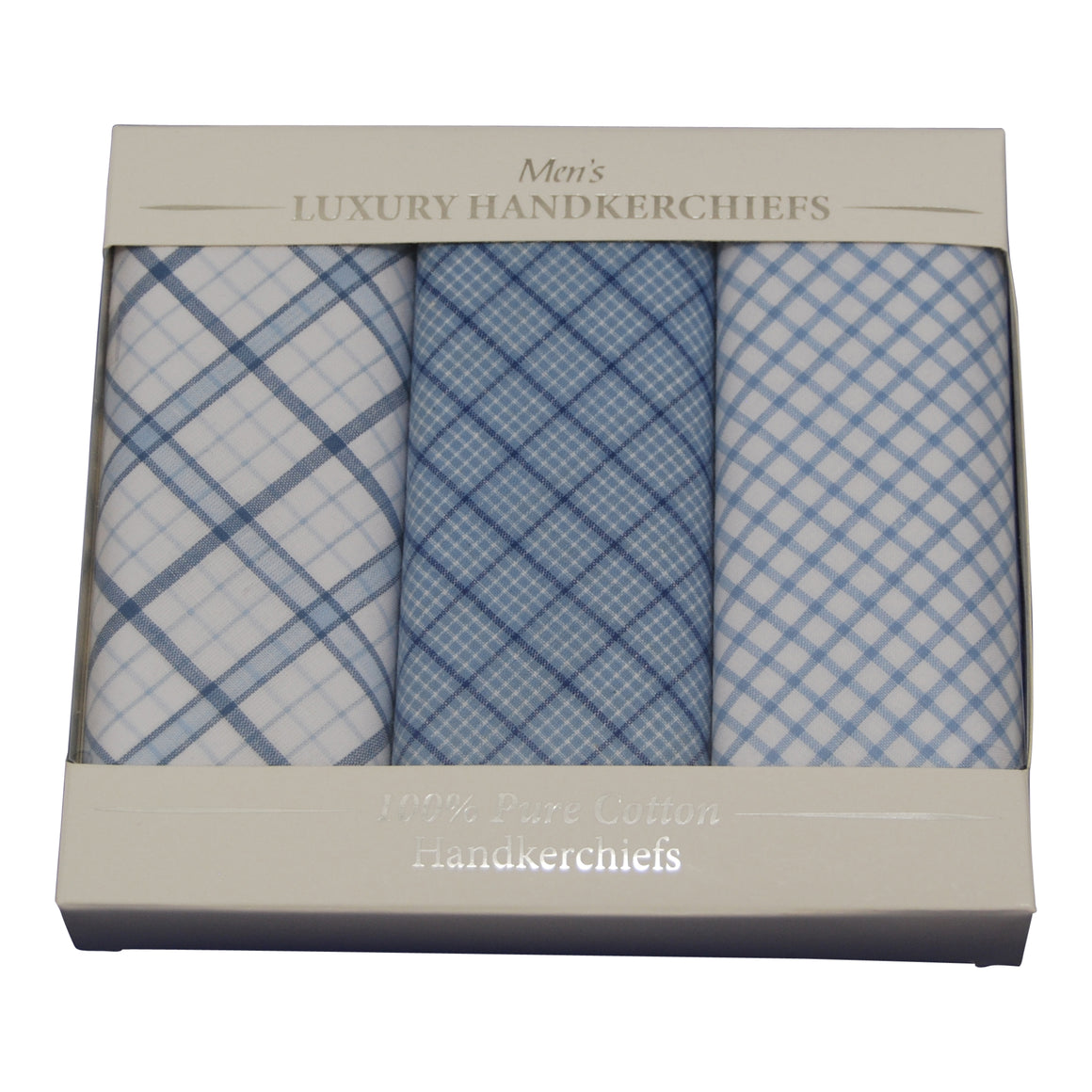 Box 3 Check Handkerchiefs for Men in Blue