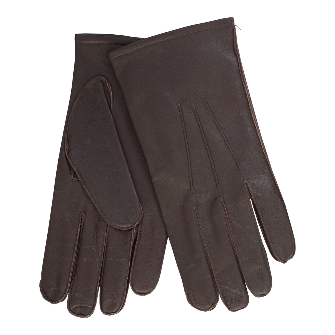 Leather Wool Mix Gloves for Men in Brown