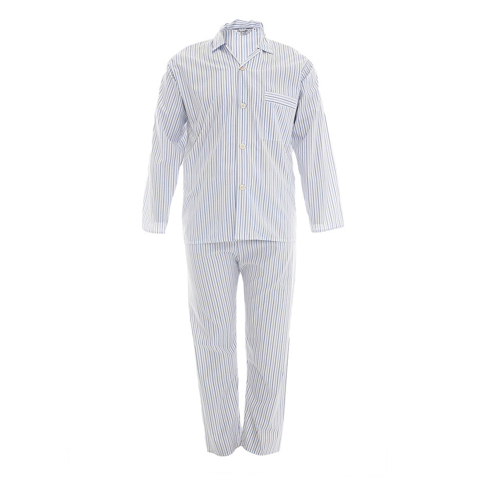Girdle Waist Stripe Pyjamas for Men in Blue