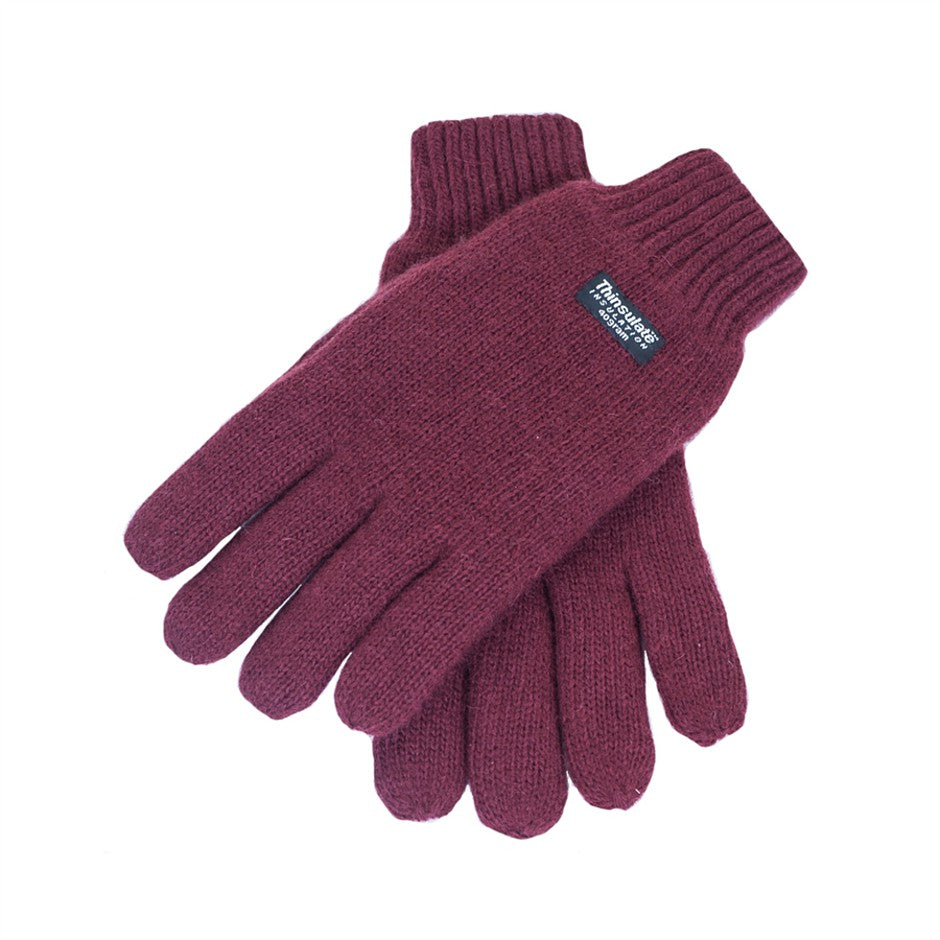 Thinsulate Knitted Gloves in Burgundy