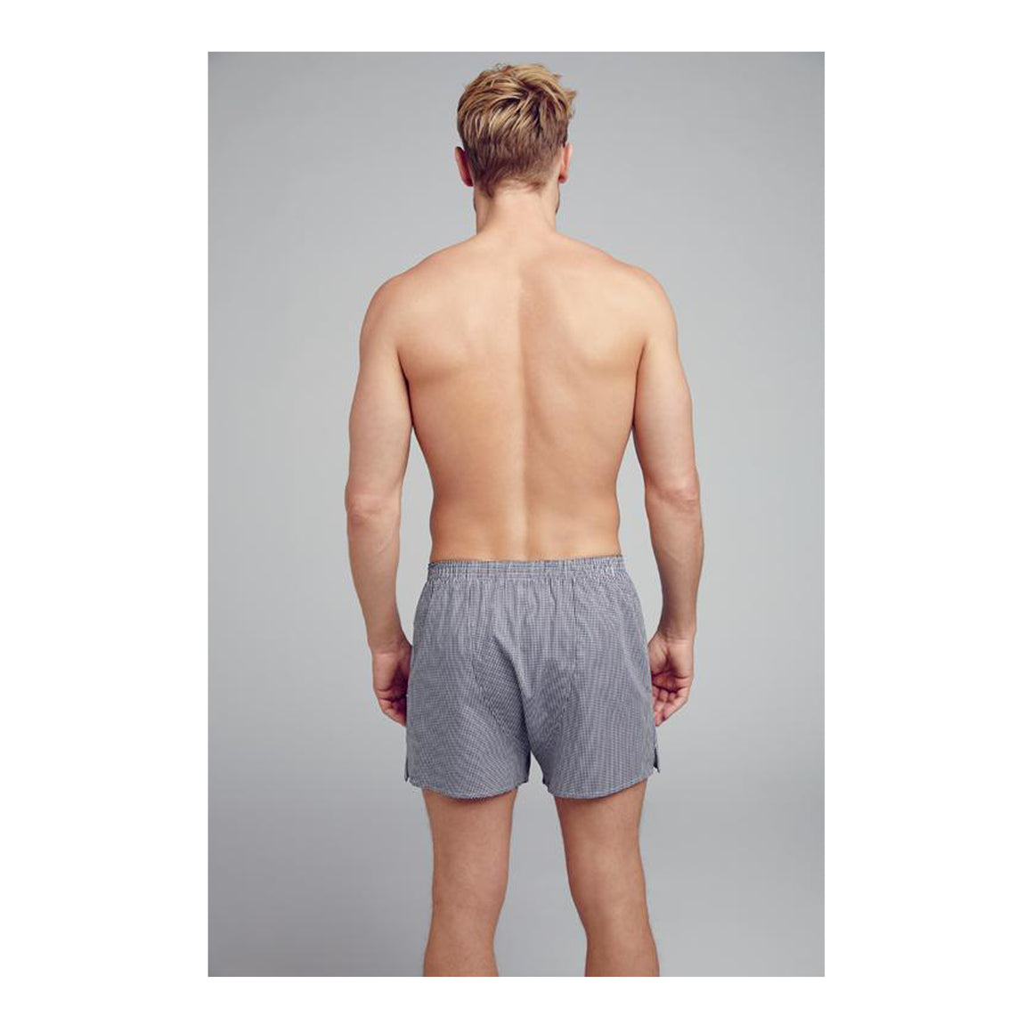 Check Woven Single Boxer Short for Men in Navy