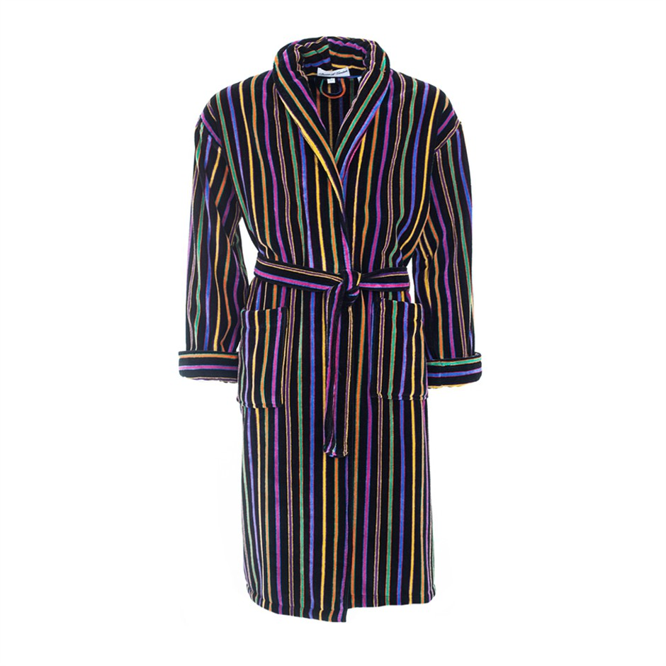 Mozart Dressing Gown for Men in Bright Stripe