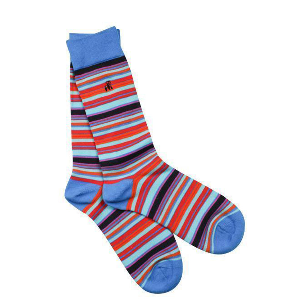 Narrow Striped Bamboo Socks for Men in Blue & Red