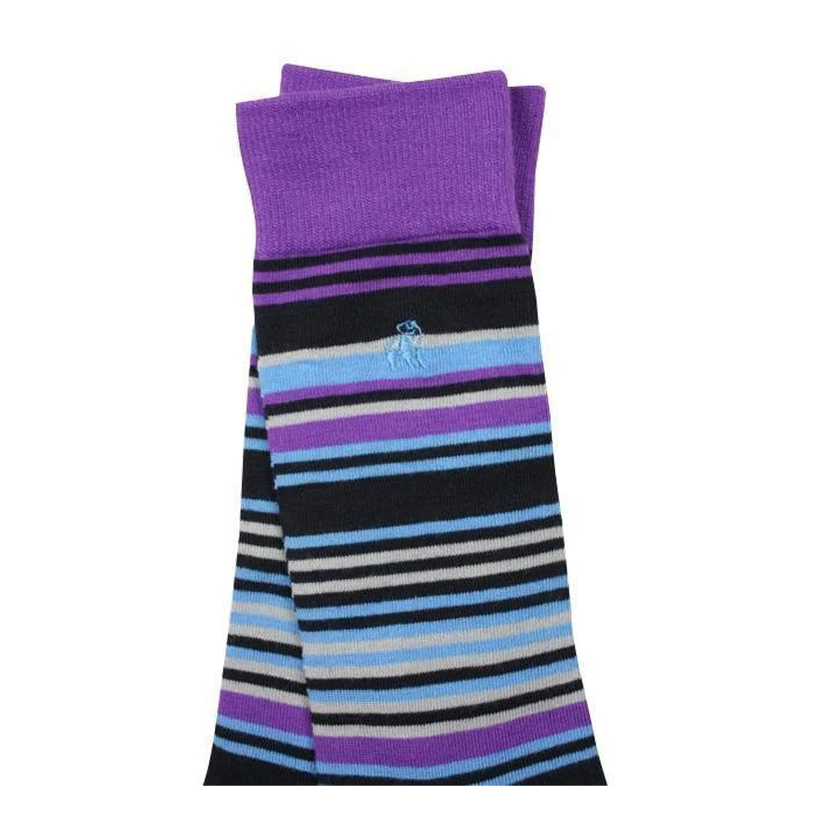 Striped Bamboo Socks for Men in Purple & Blue
