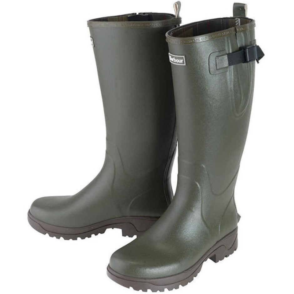Mens Tempest Neoprene Lined Wellington Boots in Olive