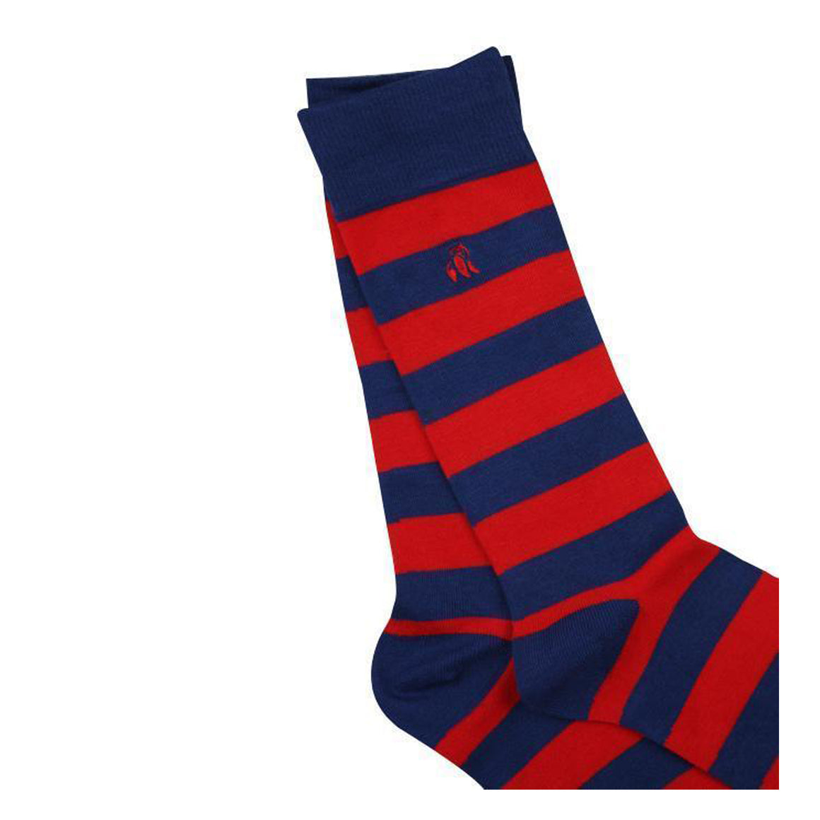 Striped Bamboo Socks for Men in Classic Red