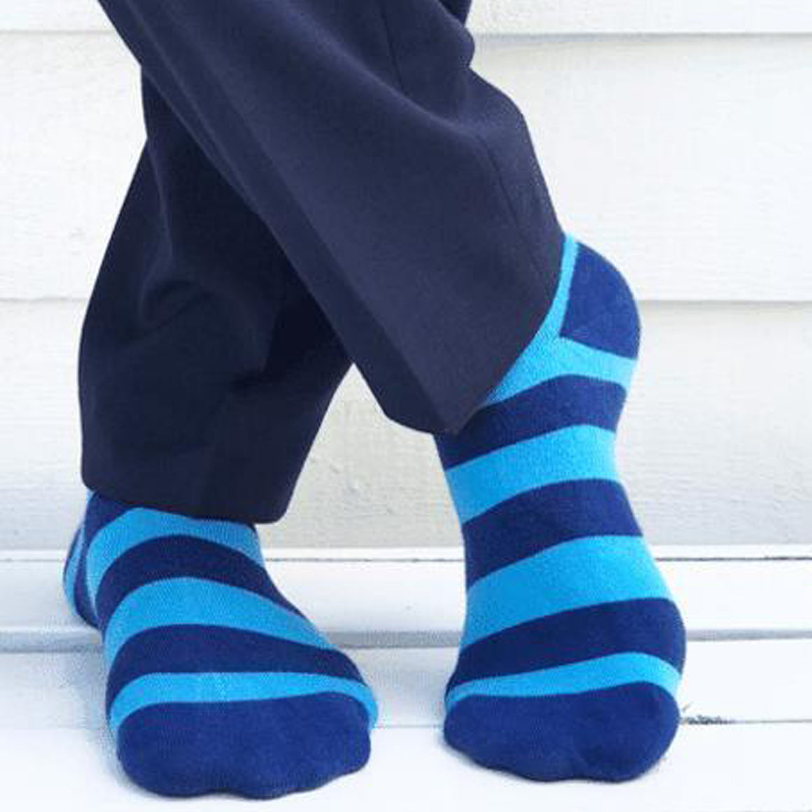 Striped Bamboo Socks for Men in Sky Blue