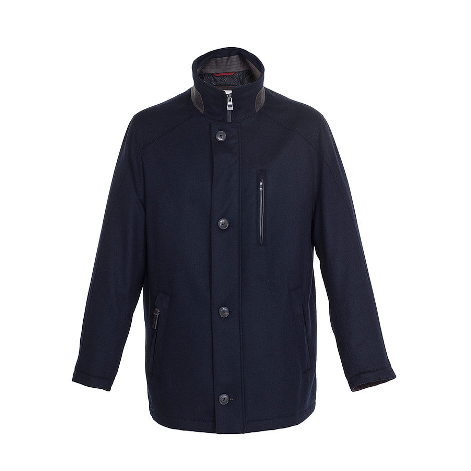 Wool Gore-Tex Coat for Men in Navy