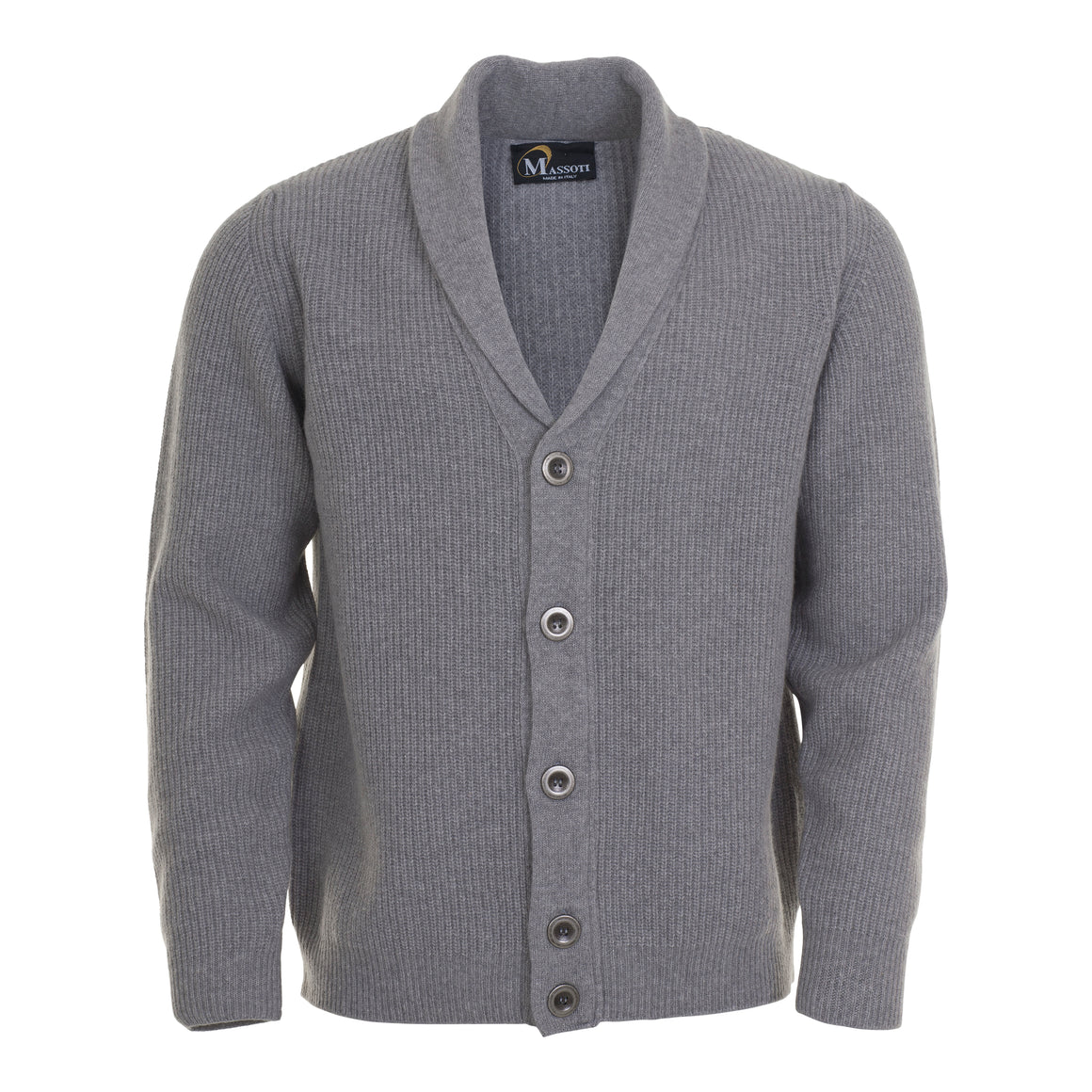 Luxury Lambswool Cardigan for Men in Silver