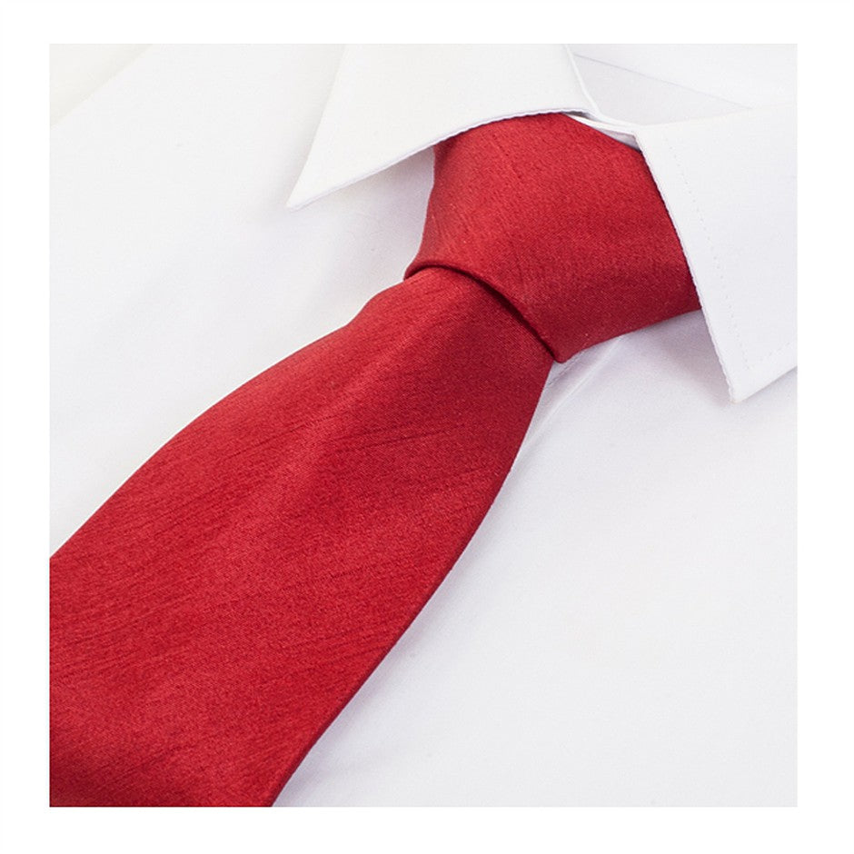 Satin Look Extra Long Tie for Men in Deep Red