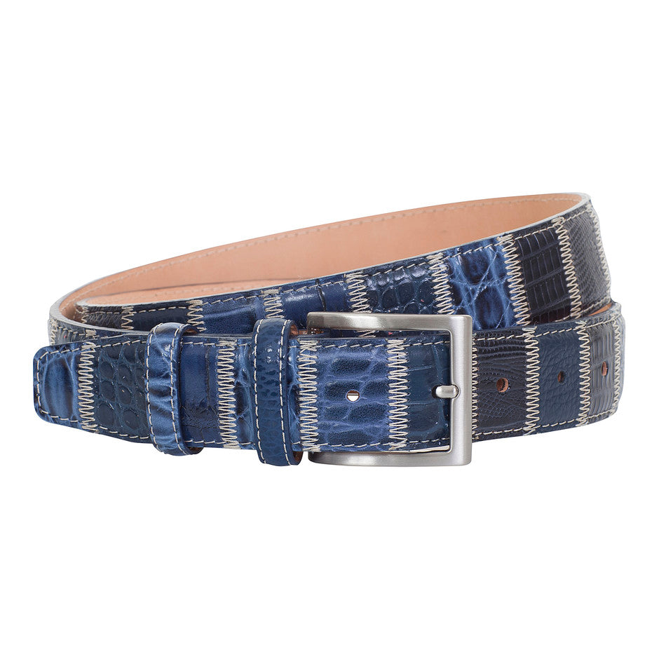 Robert Charles Patchwork Belt for Men in Navy