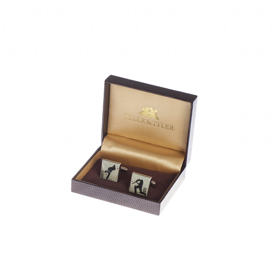 Square Stencilart Howzat Cricket White Brick Enamel Cufflinks