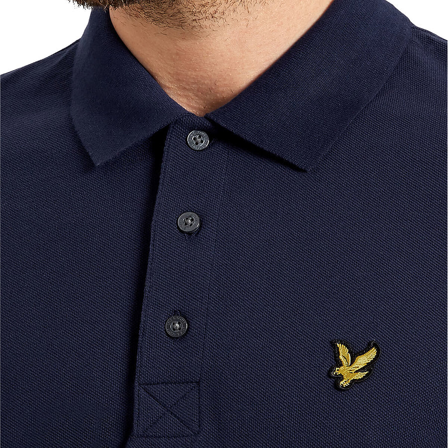 Plain Short Sleeve Polo Shirt for Men in Navy