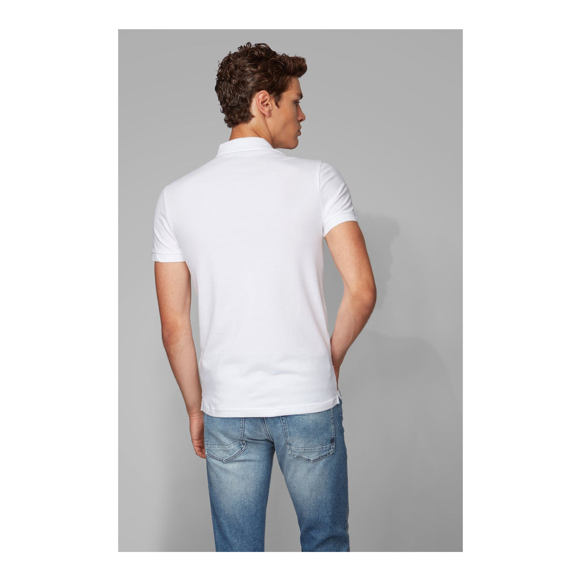 Slim Stretch Polo for Men in White