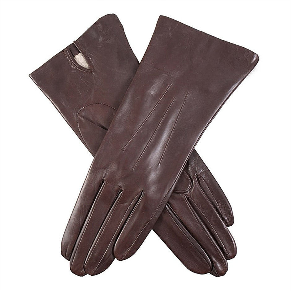 Felicity Silk Lined Hairsheep Leather Gloves for Women in Mocca