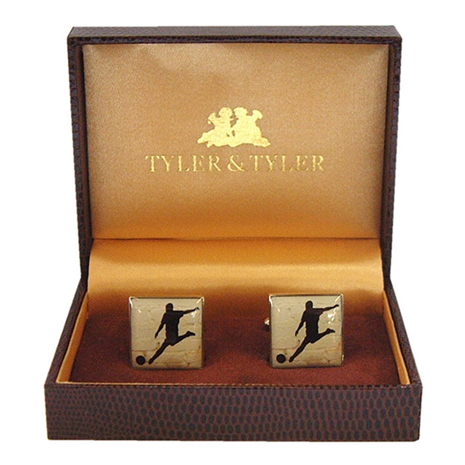 Square Football Cufflinks for Men in Silver