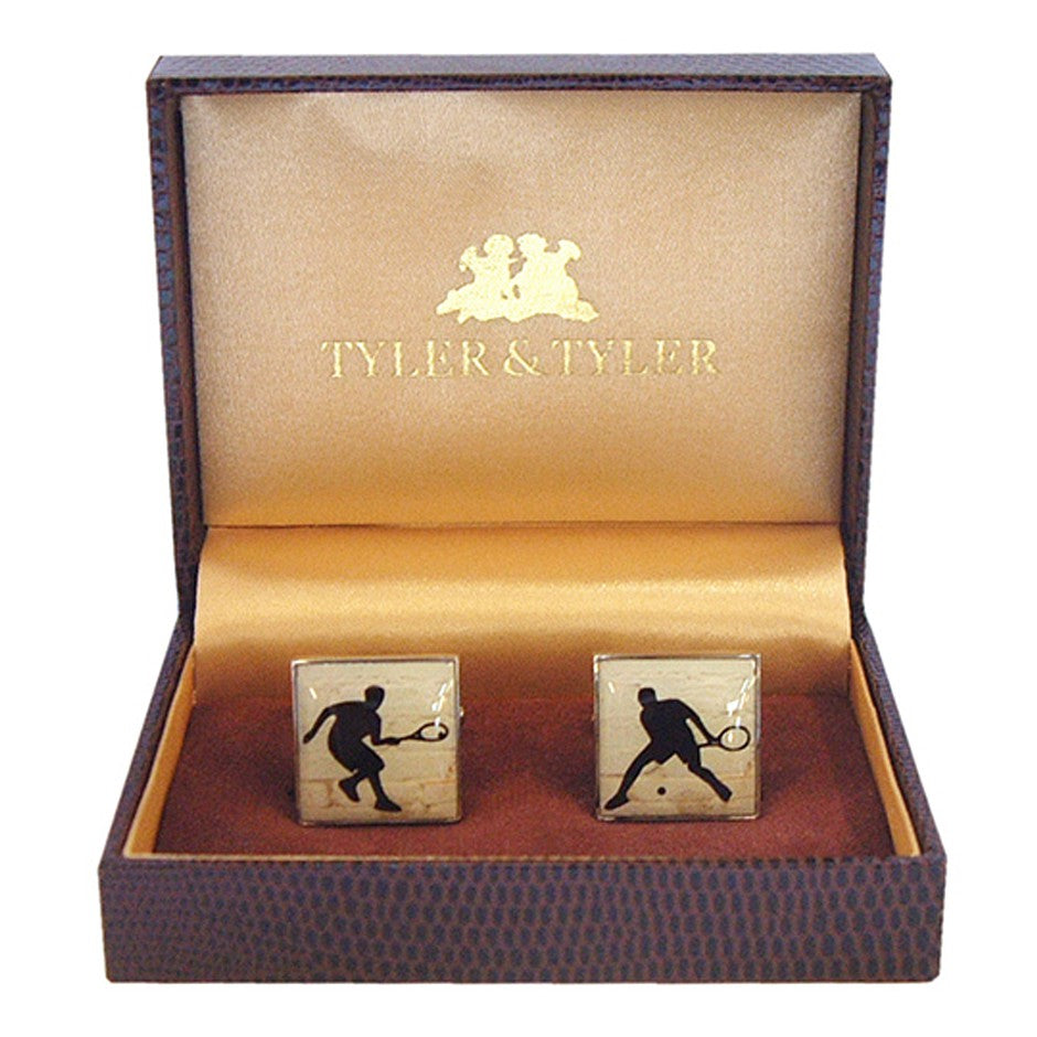 Square Tennis Cufflinks for Men in Silver