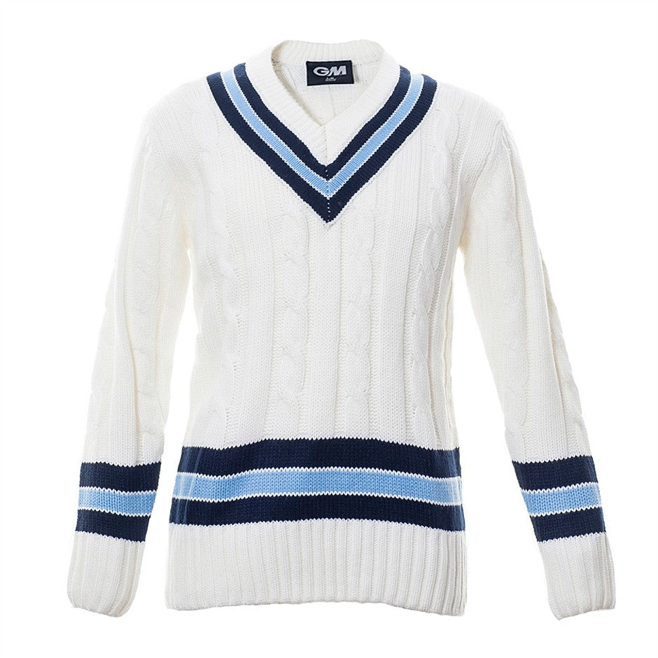 Trimmed Long Sleeve Cable Knit Cricket Sweater for Boys in Ivory, Navy & Sky