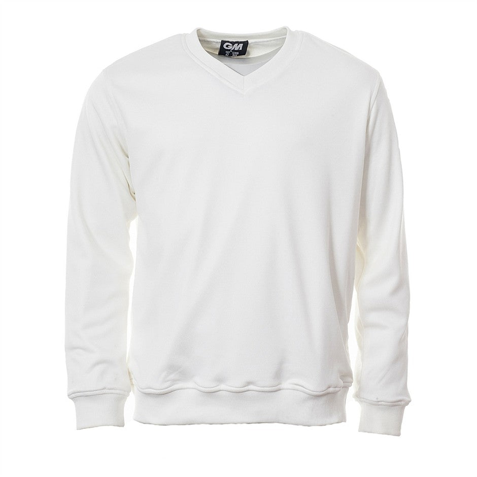 Teknik Plain Long Sleeve Cricket Sweater for Men in Ivory
