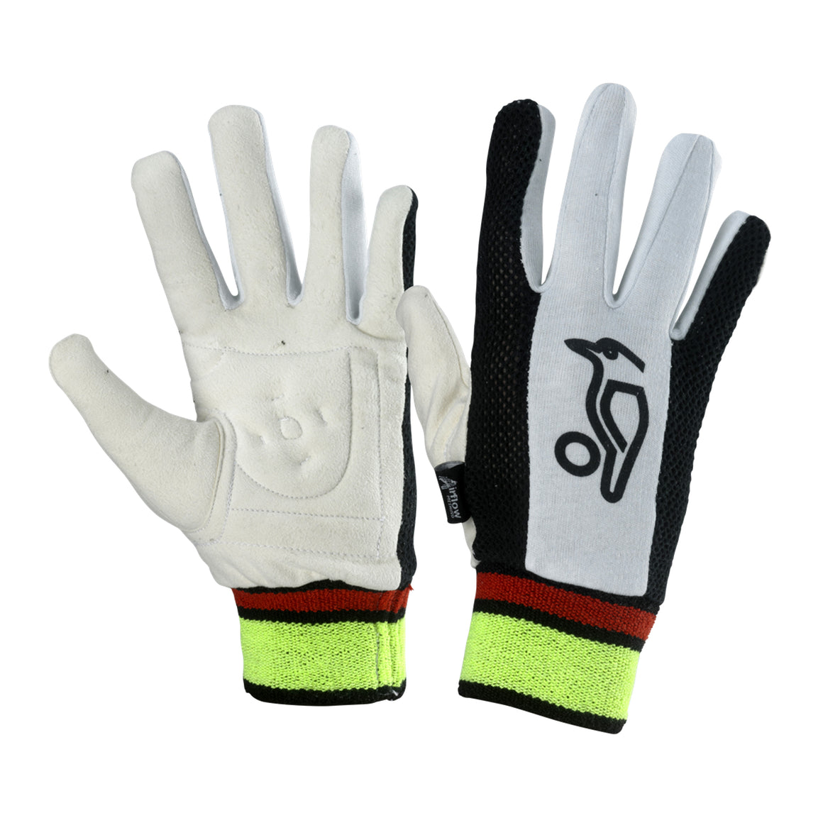 Padded Chamois Inner Gloves for Kids in White & Black