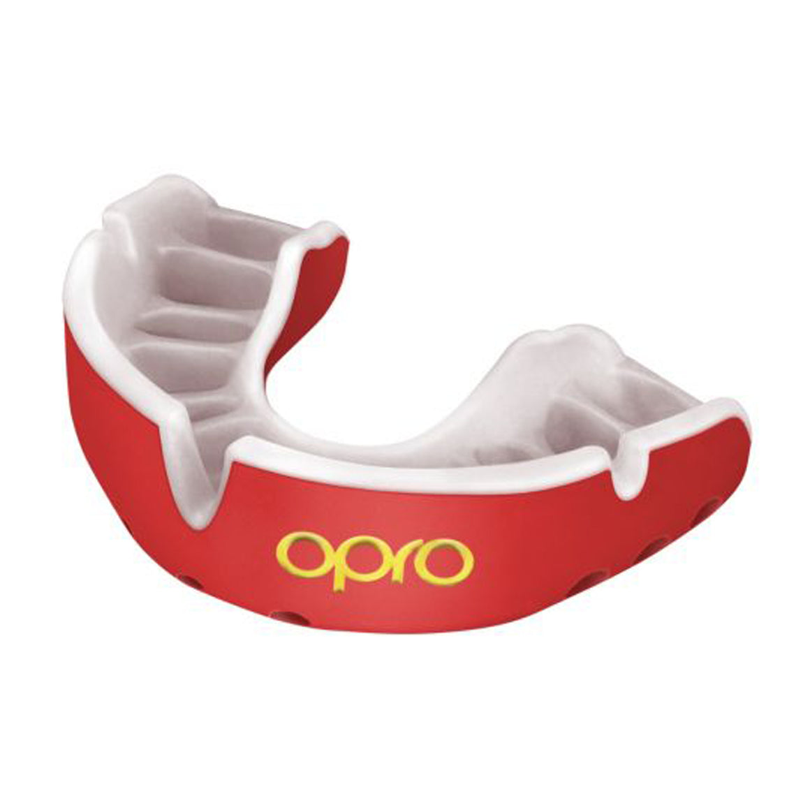 Gold Mouth Guard for Adults and Juniors in Red & White