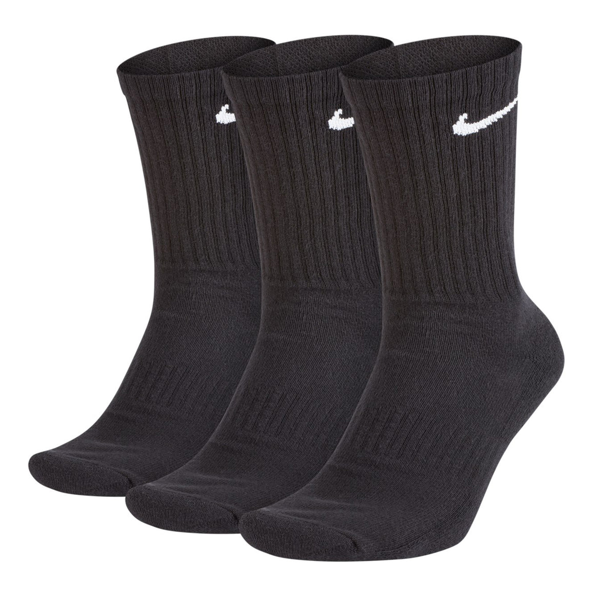 3 Pair Pack Everyday Cushion Crew Training Socks for Men in Black