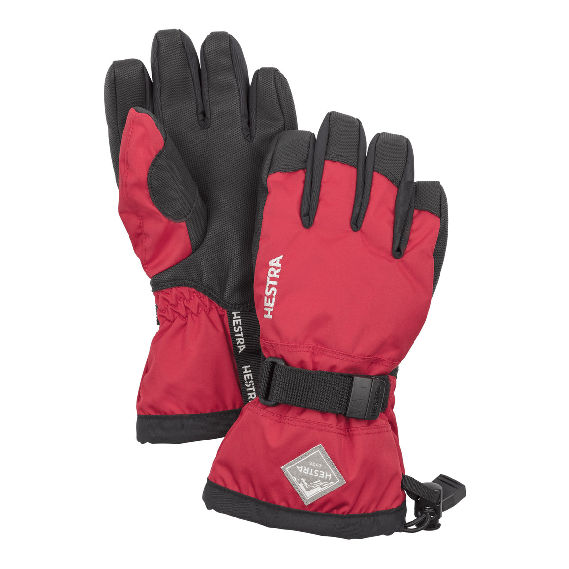 Gauntlet CZone Jr Ski Gloves for Kids in Bright Red