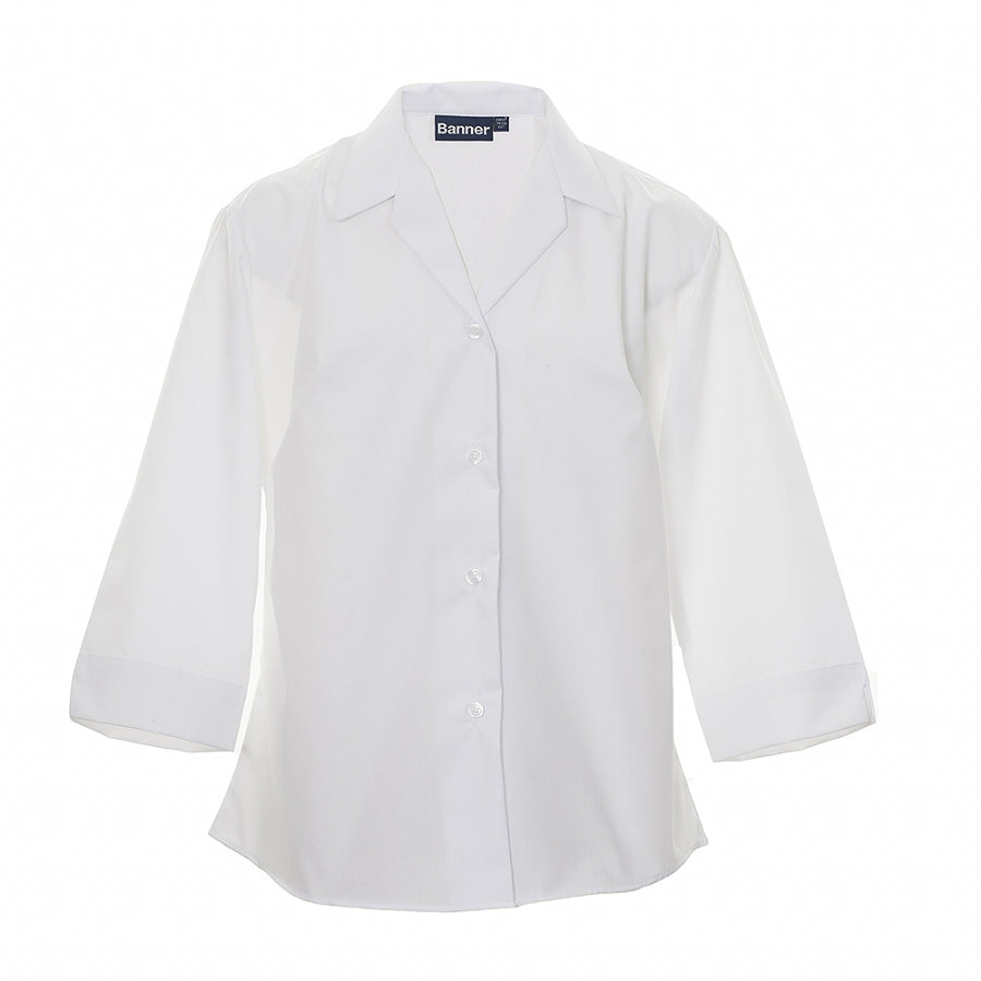 Girls' School ¾ Sleeve Semi-fitted Blouse in White – Twin Pack