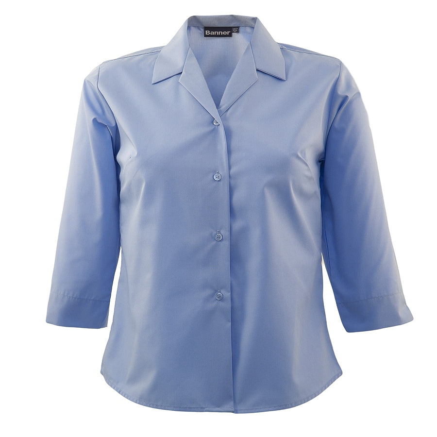 Girls' School ¾ Sleeve Semi-fitted Blouse in Blue – Twin Pack