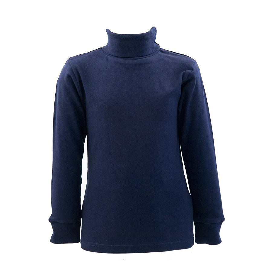 Navy cotton roll neck