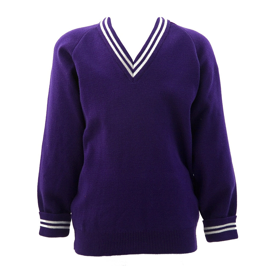 St John's Girls' Jumper Purple with White Trim