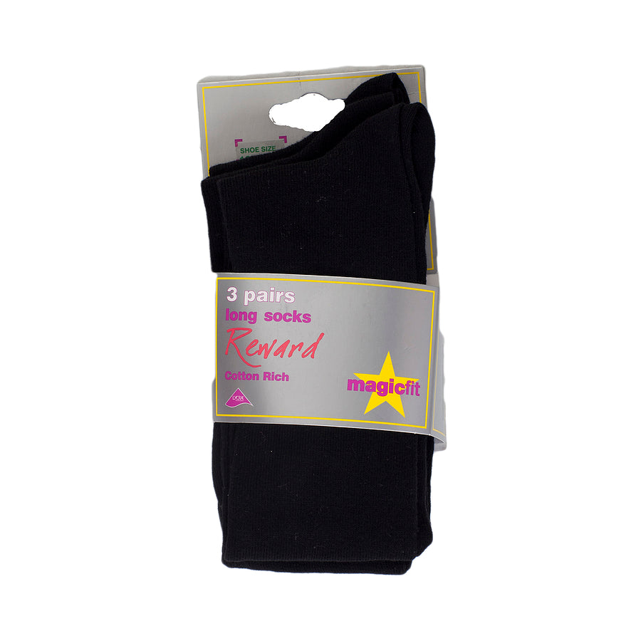 3PP Cotton Rich Long Socks - Black