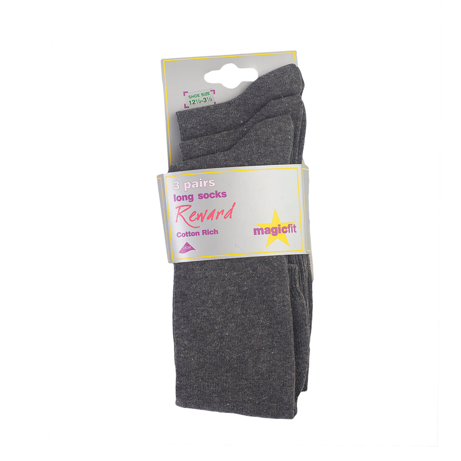 3PP Cotton Rich Long Socks - Grey