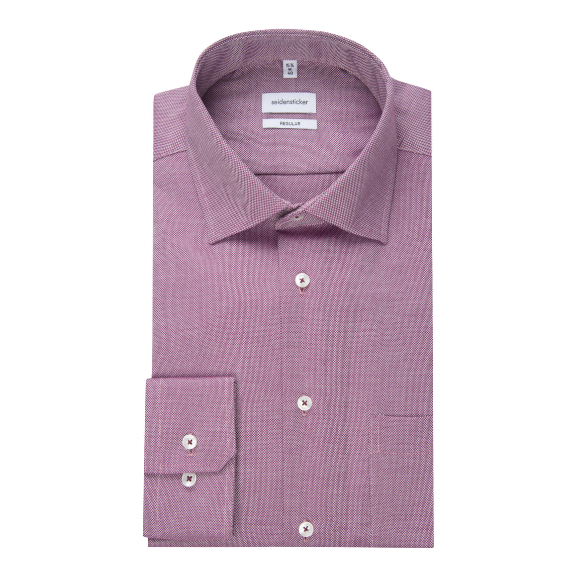 Plain Surface Structure Shirt for Men in Mulberry