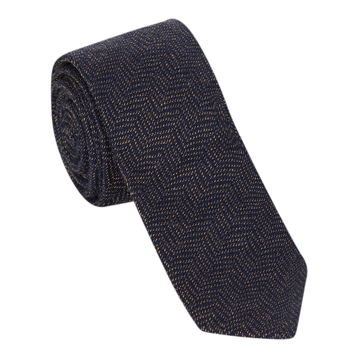 Herringbone Wool-Silk Narrow Tie for Men in Navy