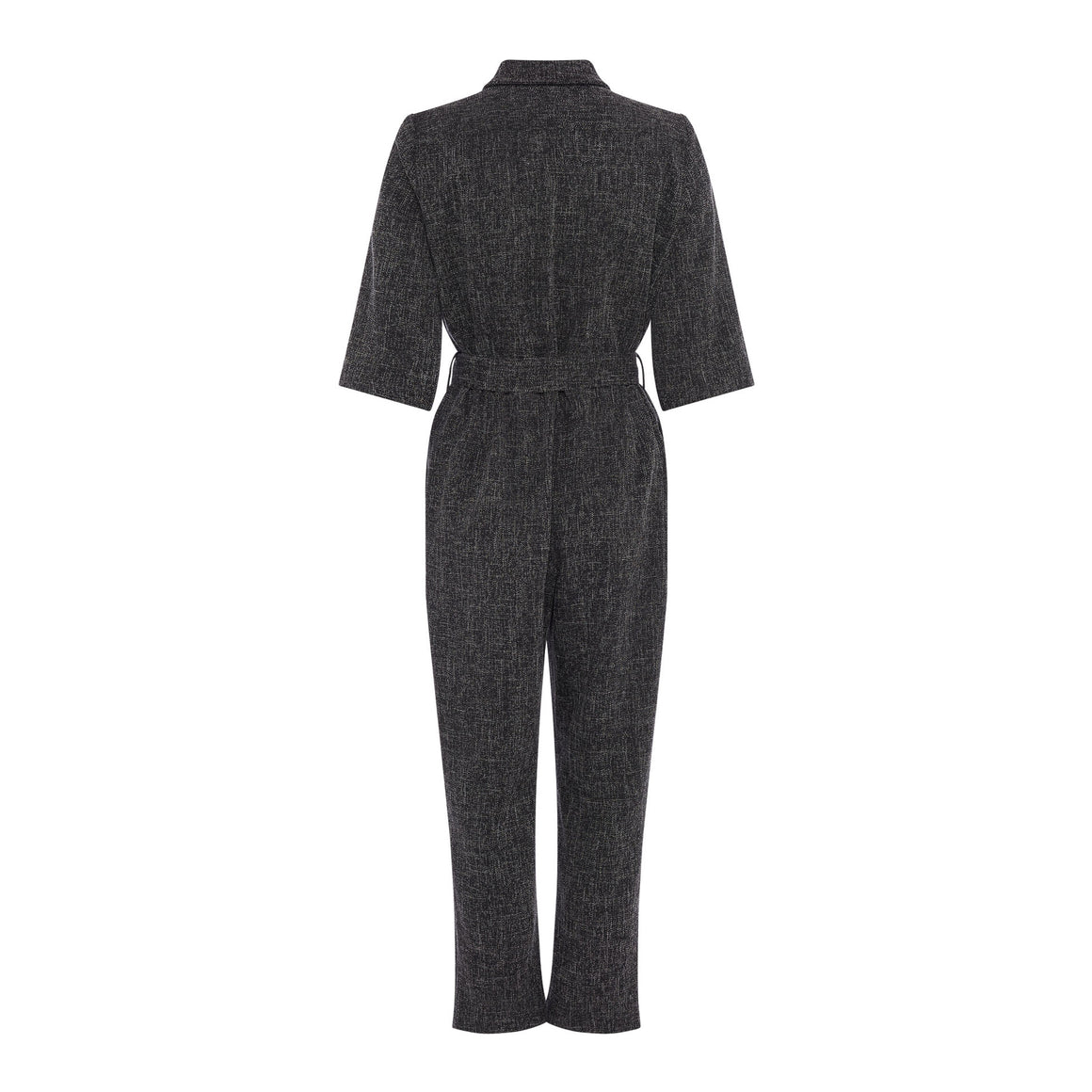 Modern Tweed Jumpsuit for Women in Black Multi