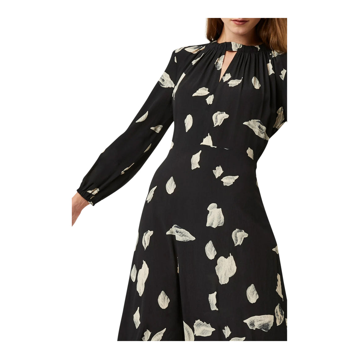 Leaf Print Dress for Women in Black Combo