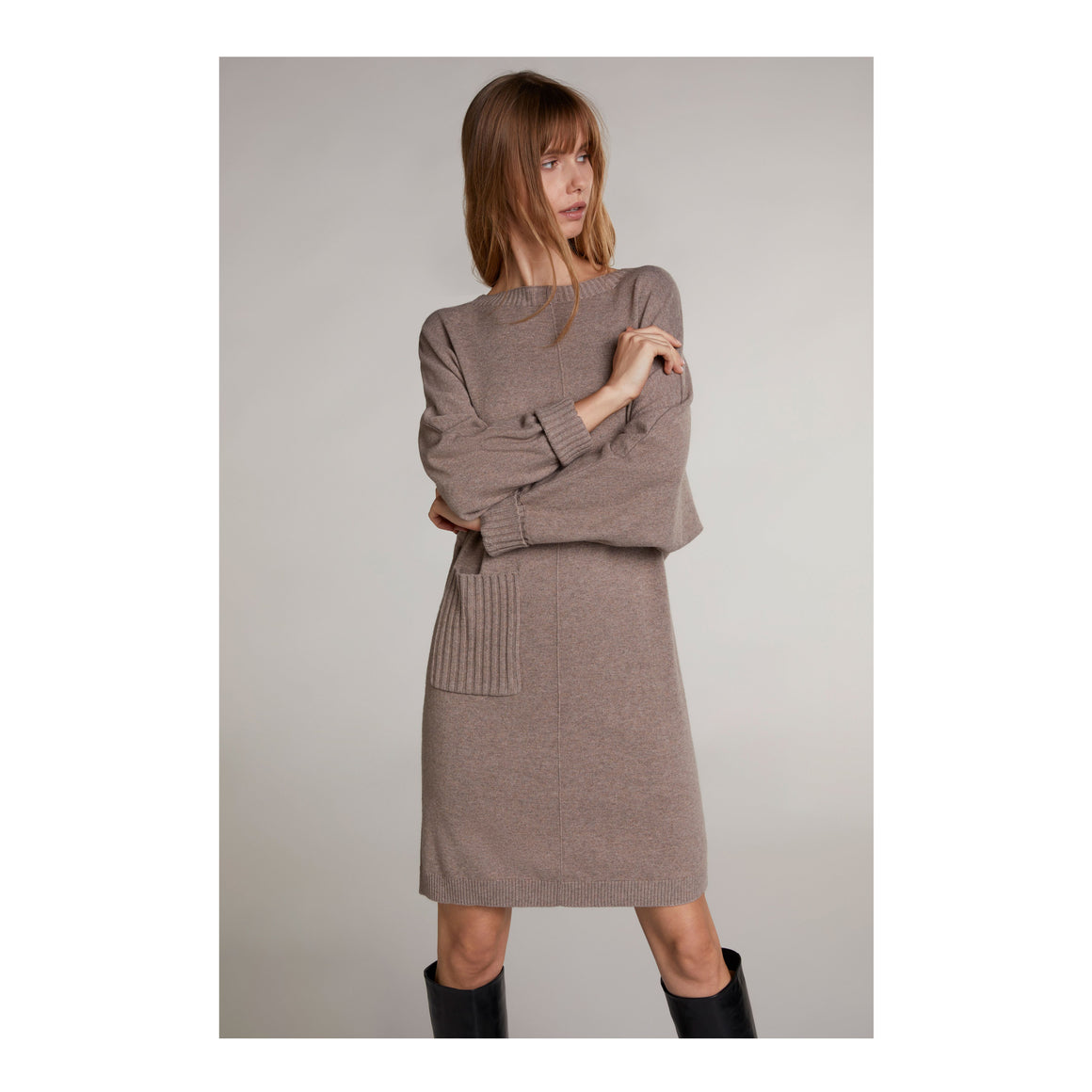 Knitted Dress for Women in Taupe Melange