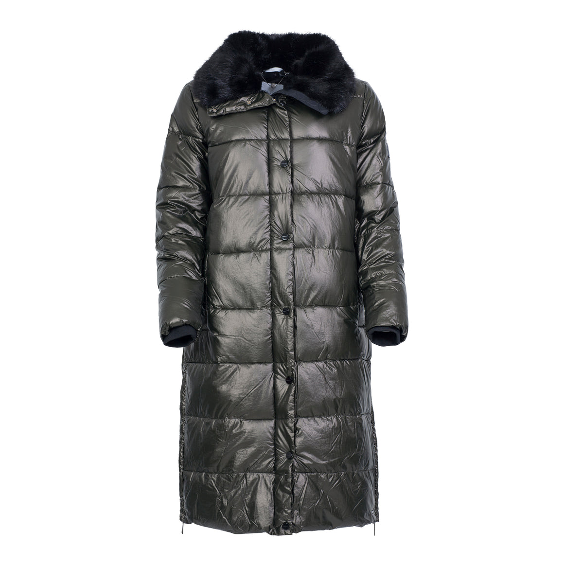 Laluna Long Padded Coat for Women in Deep Forest