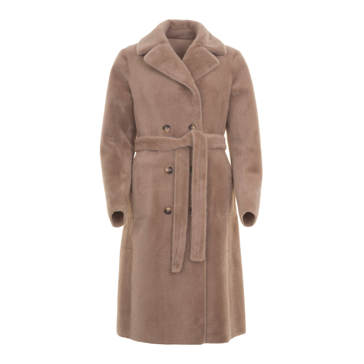 Pita Reversible Faux Sheepskin Coat for Women in Taupe