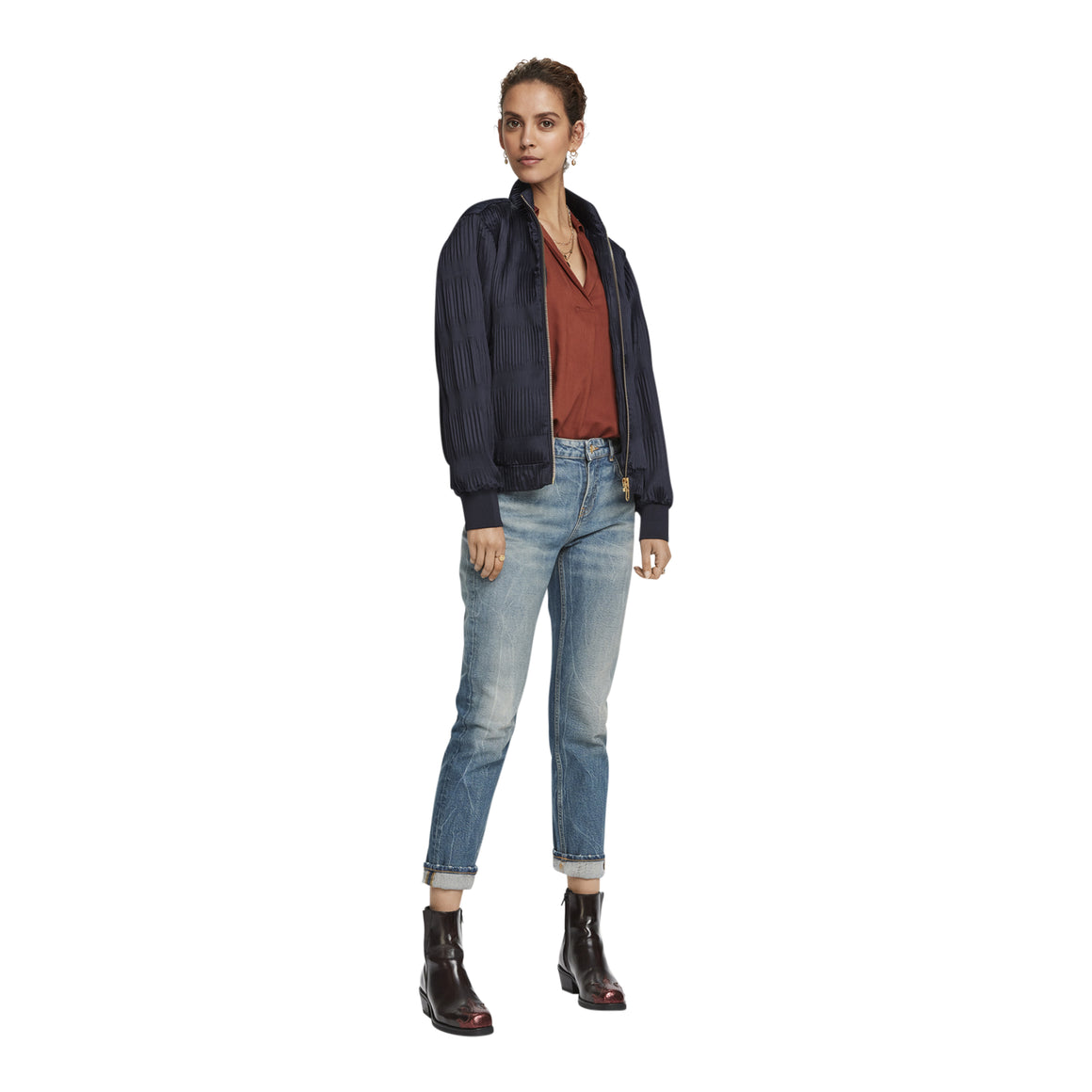 Bomber Jacket In Modern Blisse for Women in Midnight