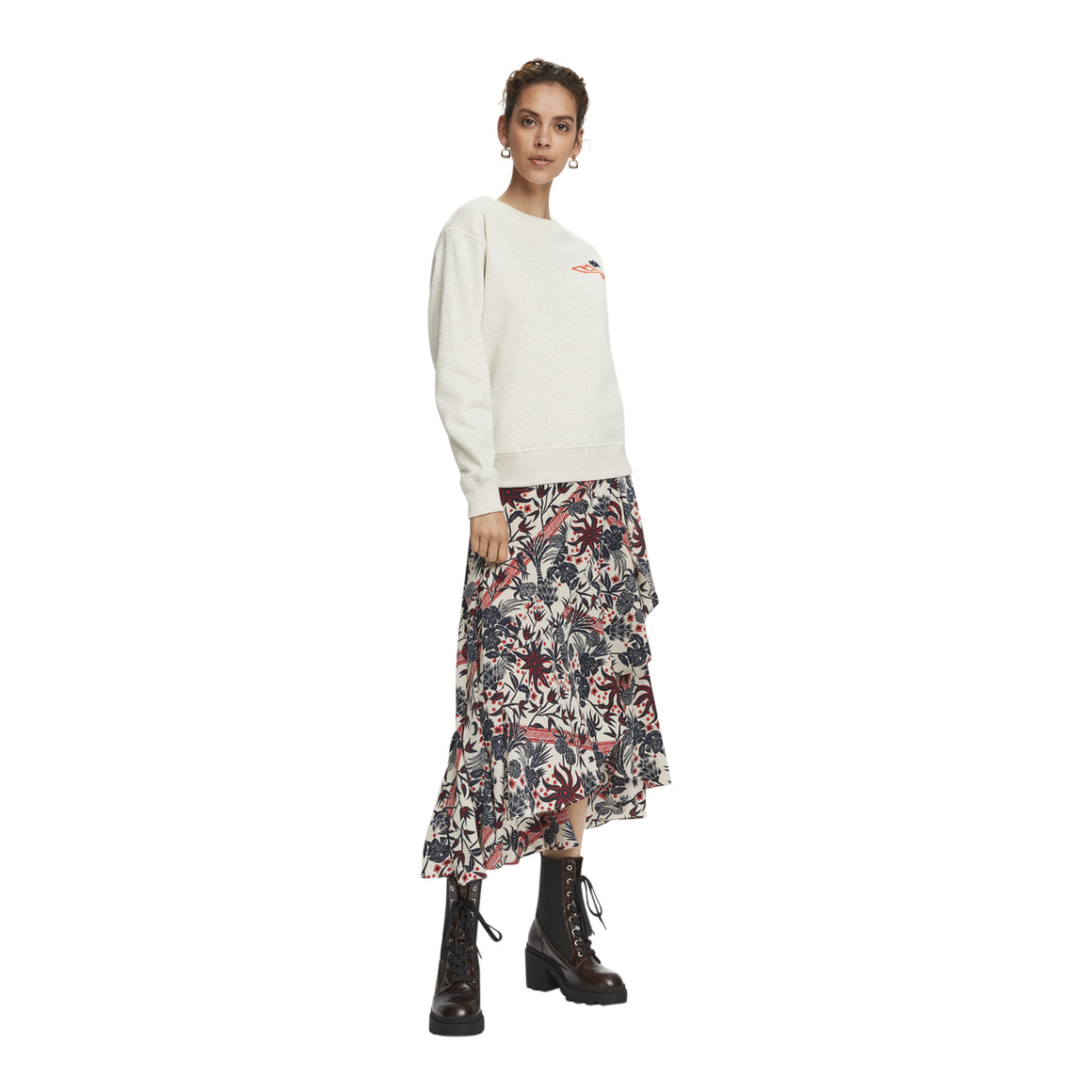 Midi Printed Wrap Skirt for Women in Combo H