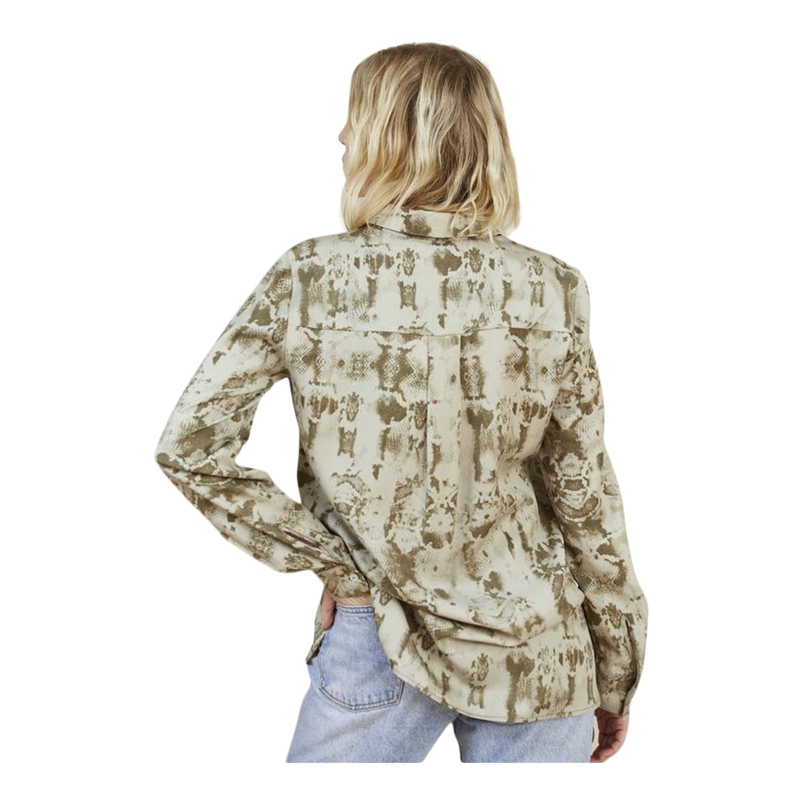 Louise Snakeprint Shirt for Women in Olive Reptile