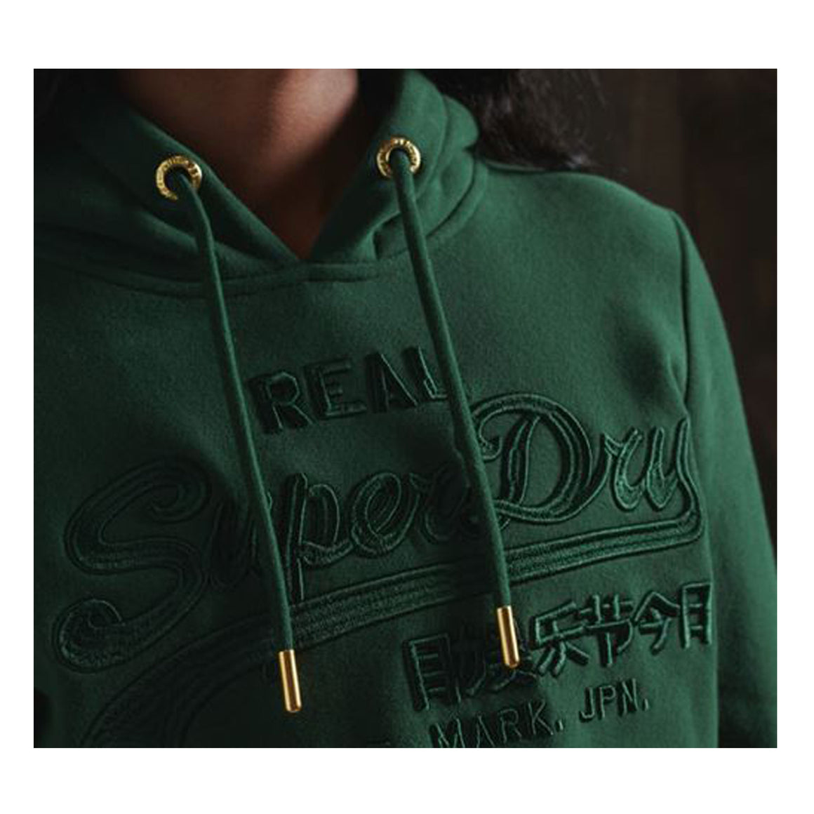 Embossed Hoodie for Women in Enamel Green