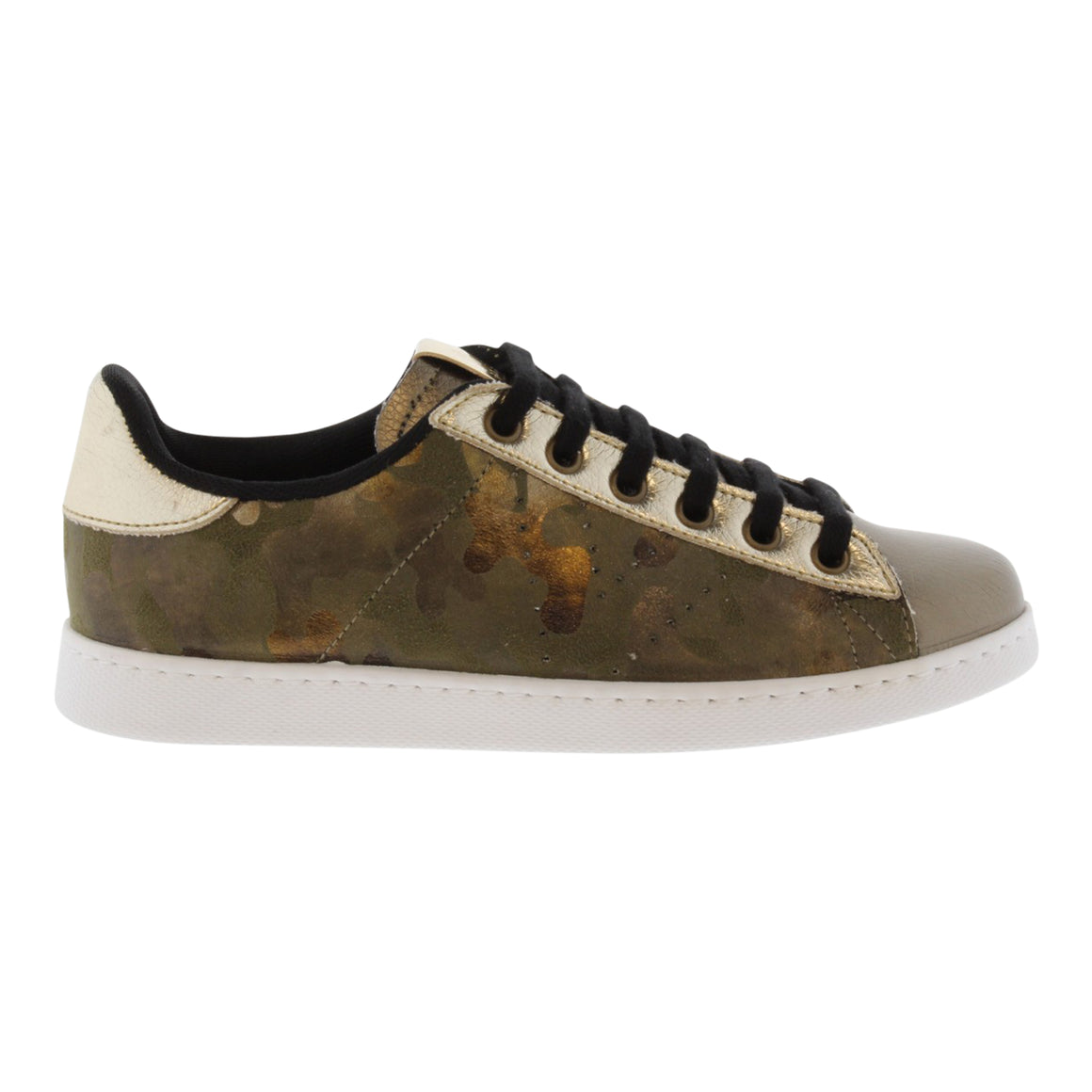 Metallic Chunky Trainer for Women in Khaki