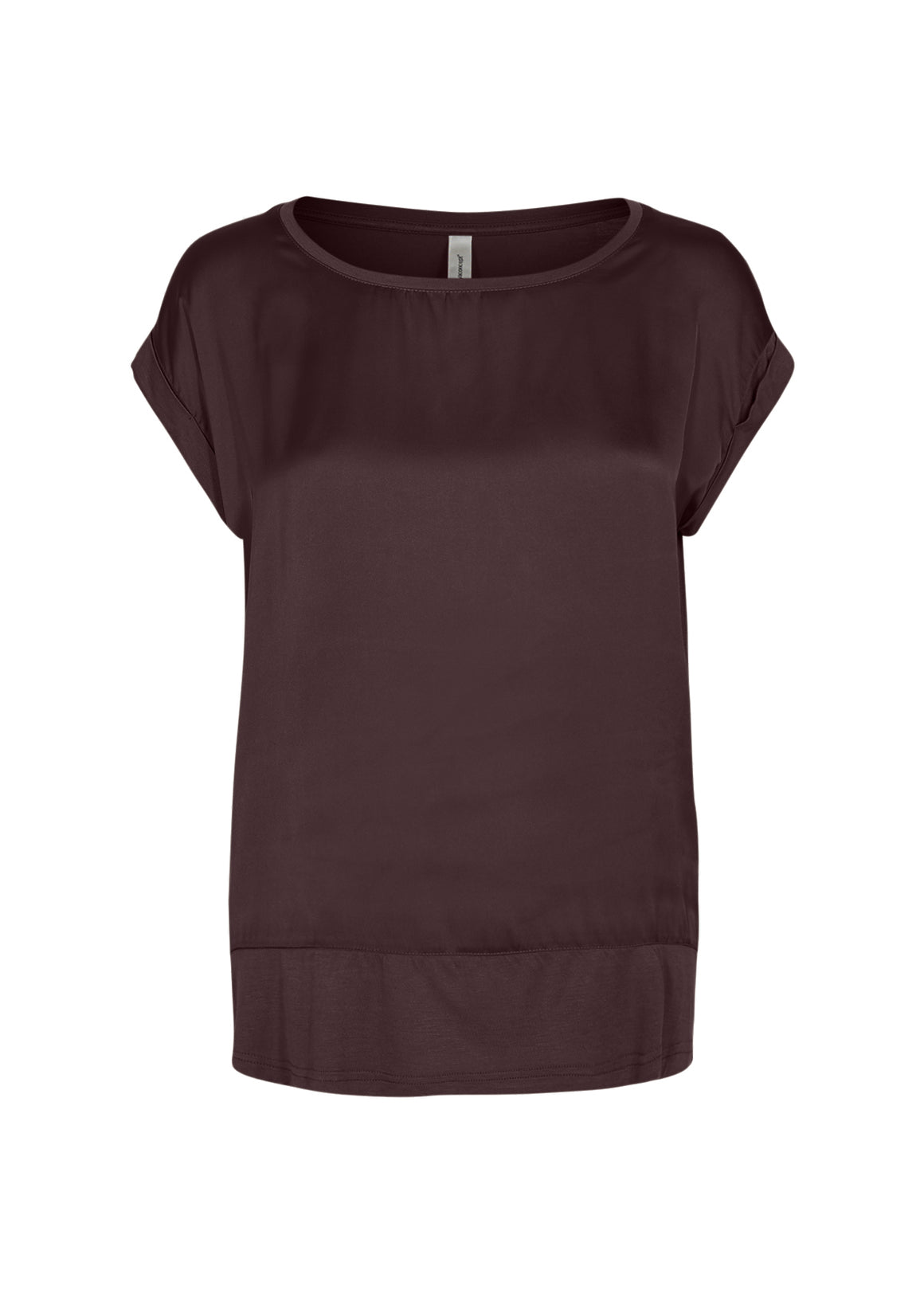 Thilda Satin SS Top for Women in Burgundy