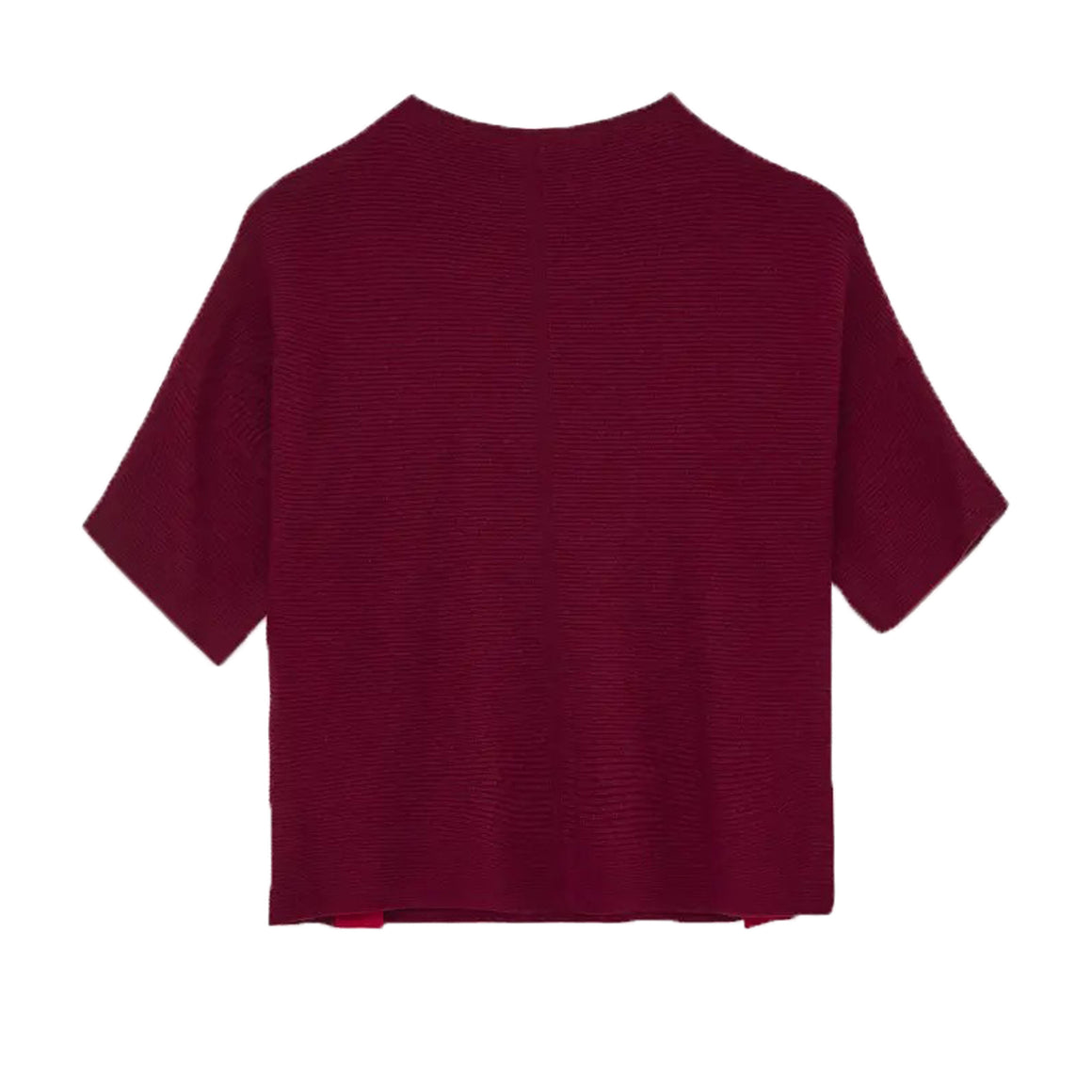 Beech Rib Button Side Jumper for Women in Deep Red