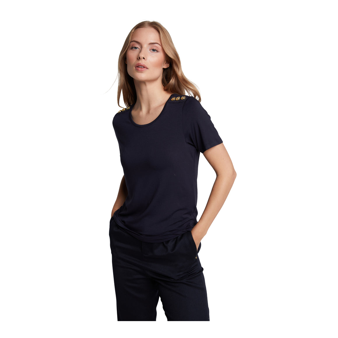 Crew Neck Tee for Women in Navy