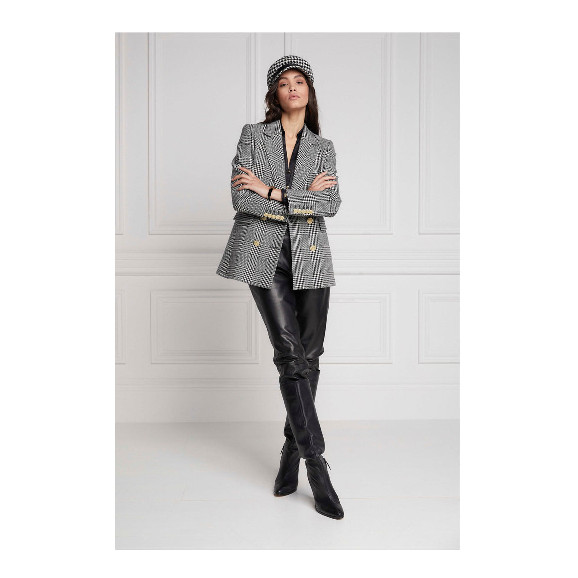 Double Breasted Jacket for Women in Prince Of Wales Mono