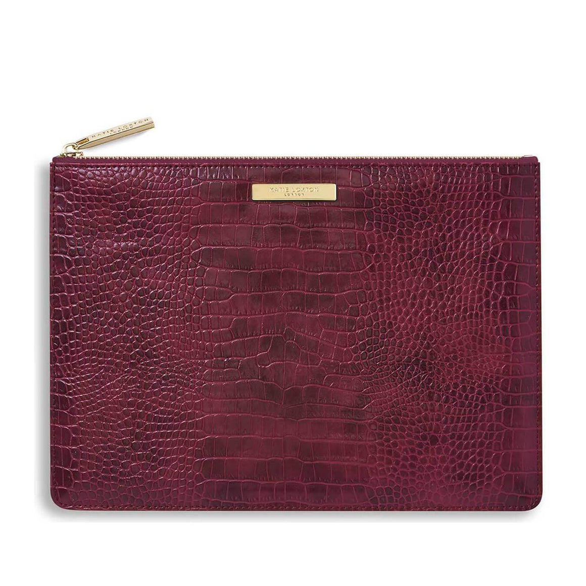 Celine Croc Perfect Pouch for Women in Burgundy
